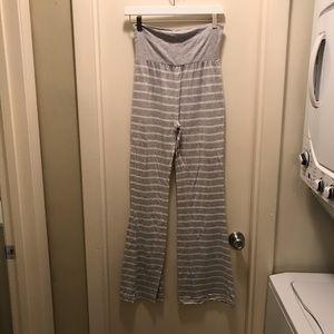 Grey striped flare lounge pants